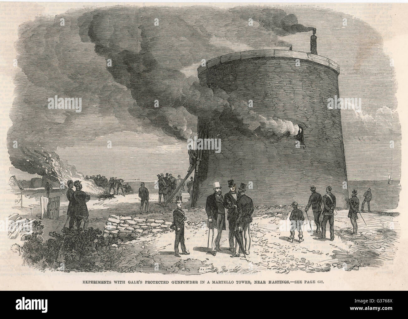 Experiments with Gale's  protected gunpowder in a  Martello Tower near Hastings        Date: 1866 - Stock Image