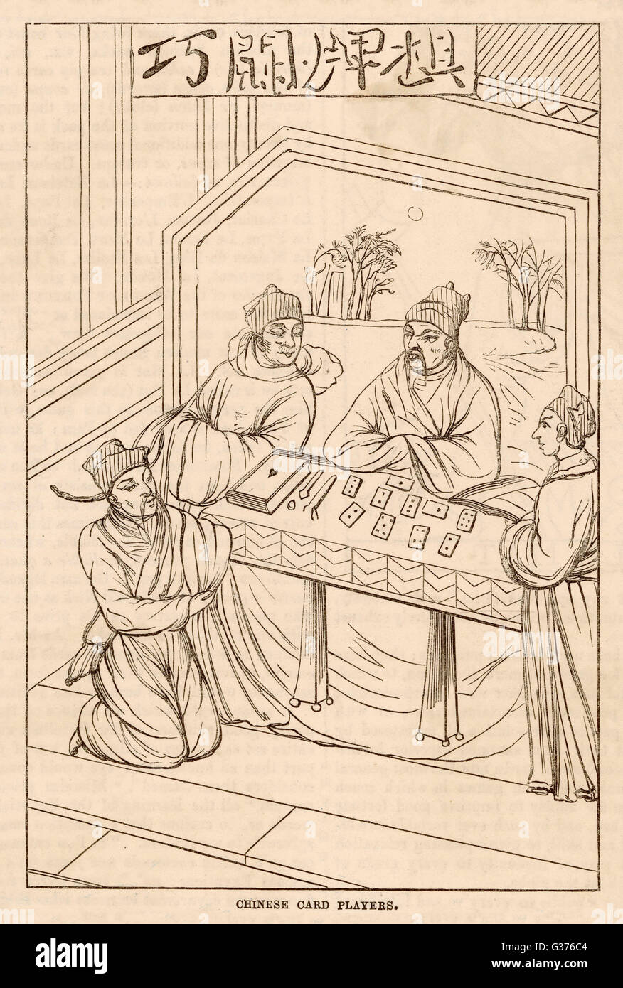Chinese men teach a card game to two Europeans         Date: circa. 15th century - Stock Image