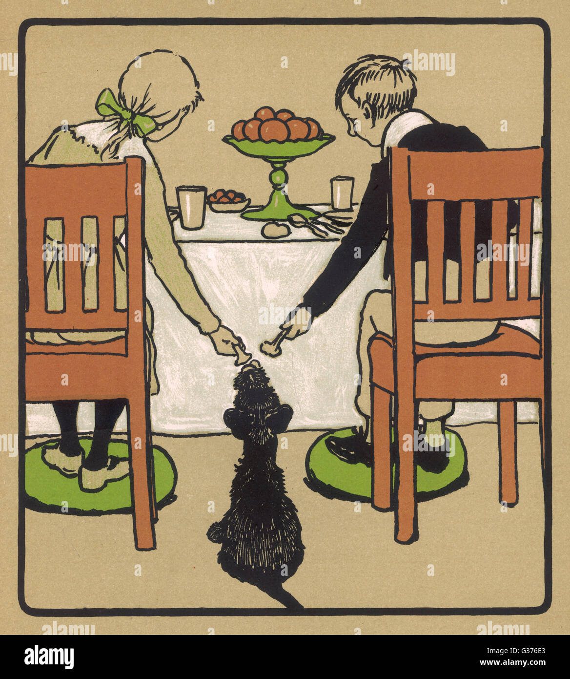 Illustration by Cecil Aldin, Rough and Tumble.  Tumble sits patiently in the nursery while a boy and a girl hand - Stock Image
