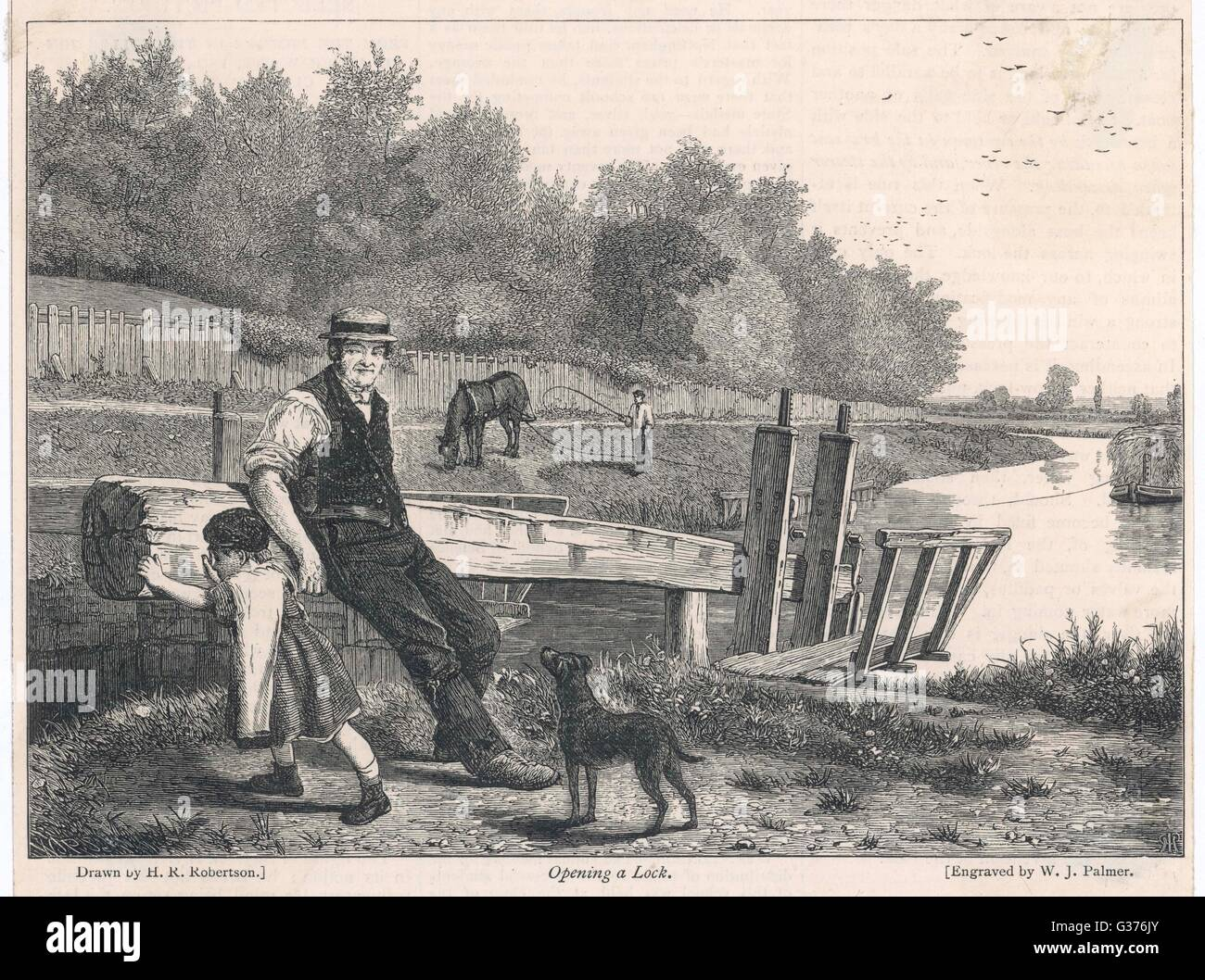 A lock on the Thames is opened  by a man and small child to  let through an approaching  barge pulled by a horse Stock Photo
