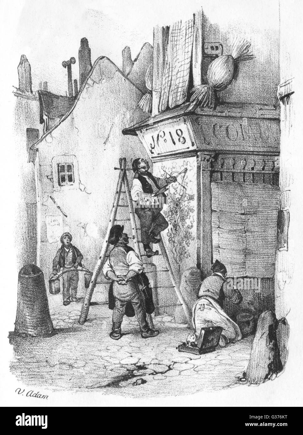 A French peintre d'enseigne  (sign painter) at work on a  shop-front.        Date: circa 1845 - Stock Image
