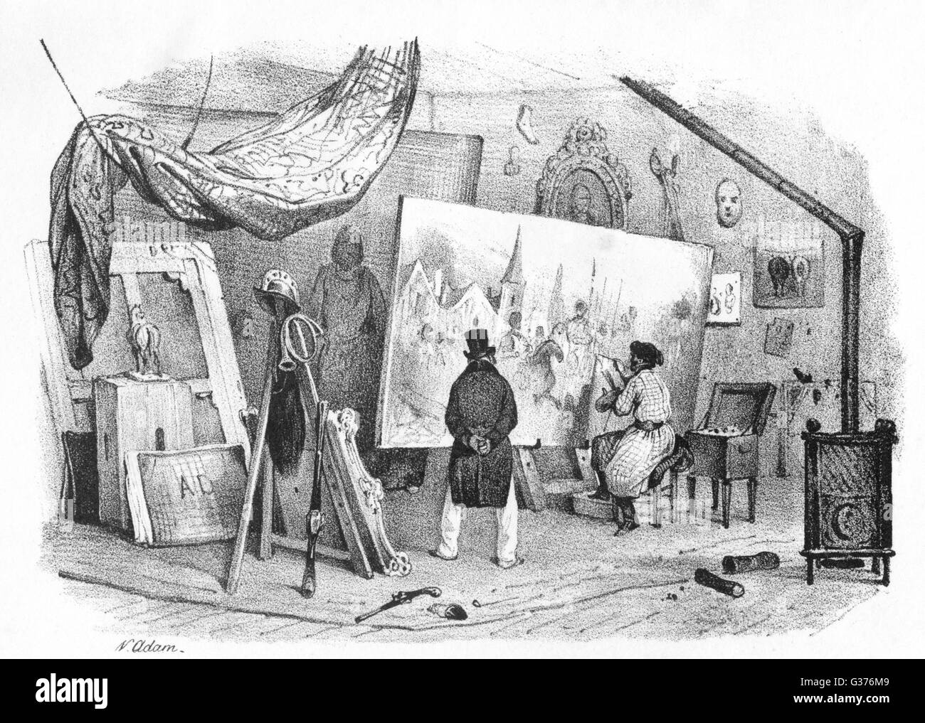 A French peintre (painter) at  work in his studio.         Date: circa 1845 - Stock Image