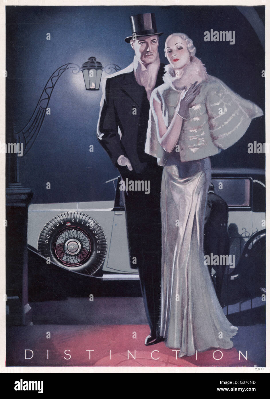 Advert for Dunlop tyres showing a glamorous 1930s couple dressed up for an evening out on the town.  1933 - Stock Image