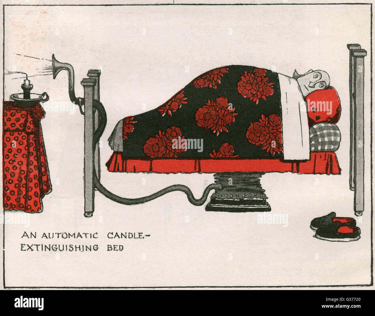 An Automatic Candle-Extinguishing Bed.     Date: 1919 - Stock Image