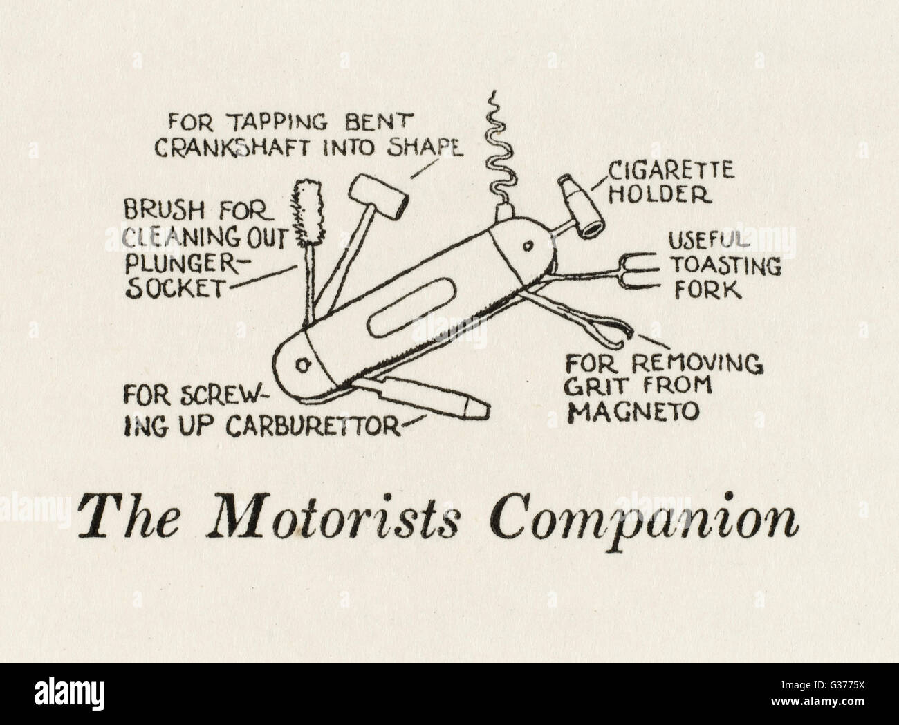The Motorists companion: a Swiss army knife of usefulness, including small hammer for tapping a bent crankshaft - Stock Image