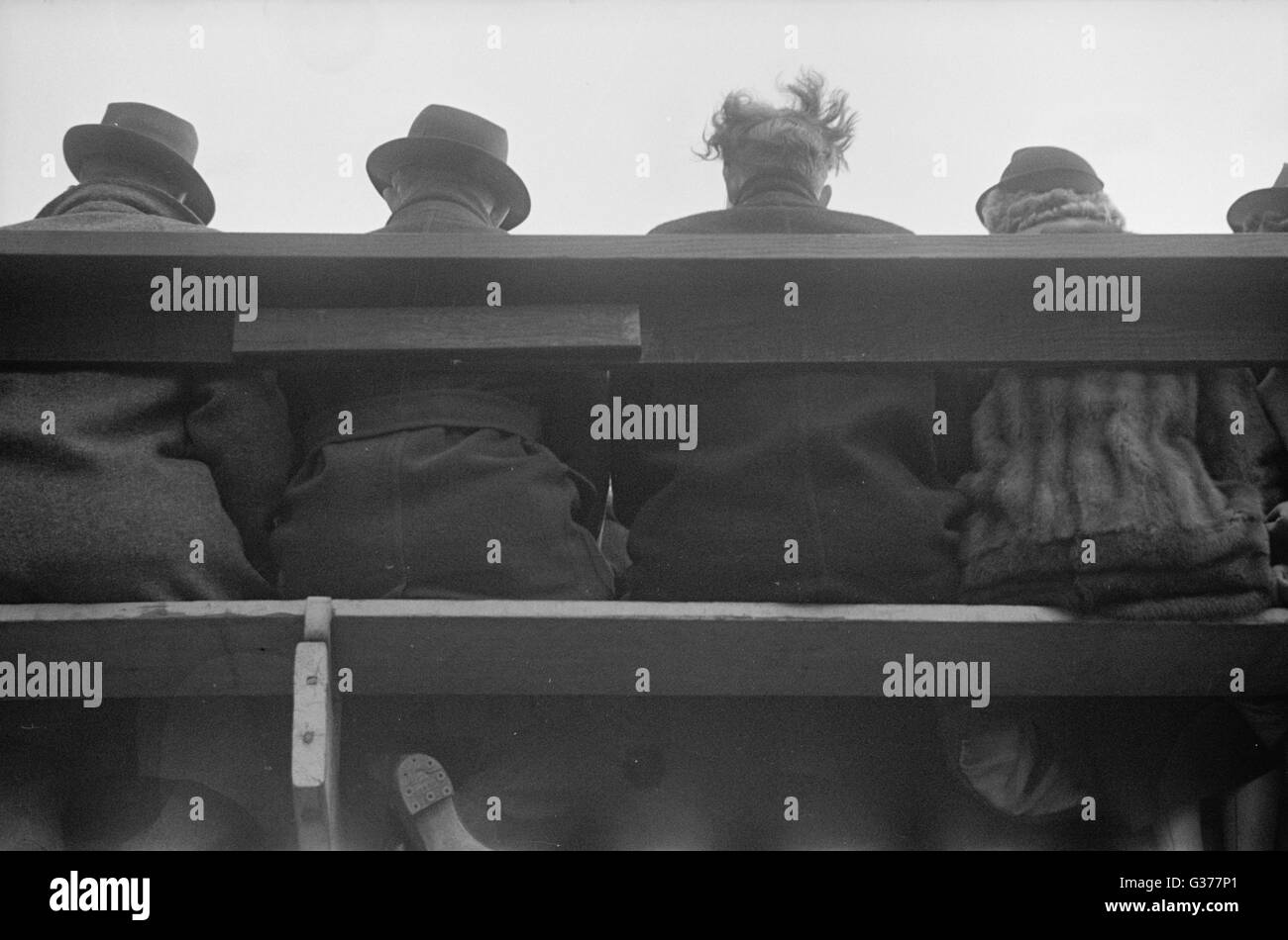Spectators at football game, Annapolis, Maryland. Date 1937 Nov. - Stock Image