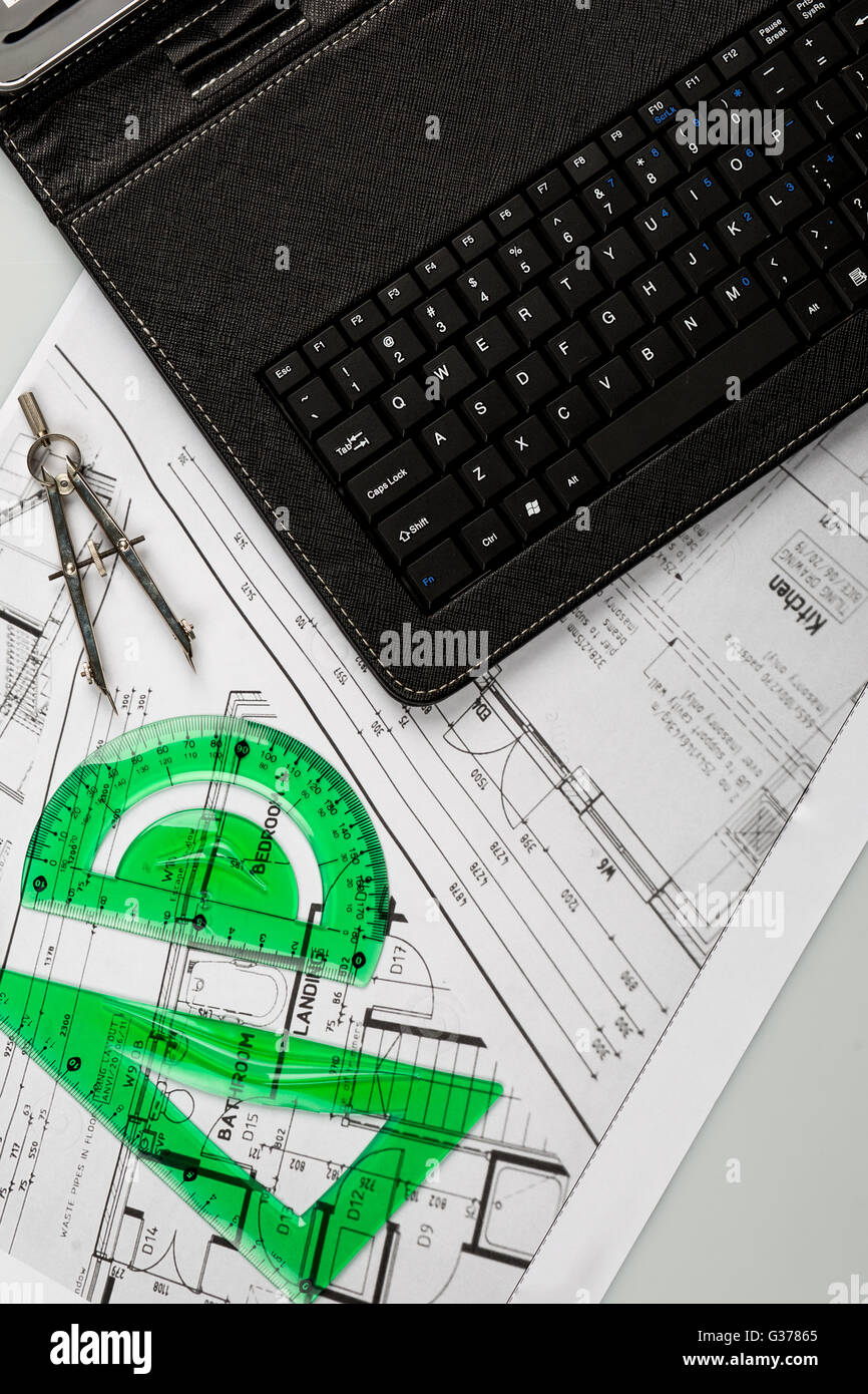 architecture building calculator concept construction cost - Stock Image