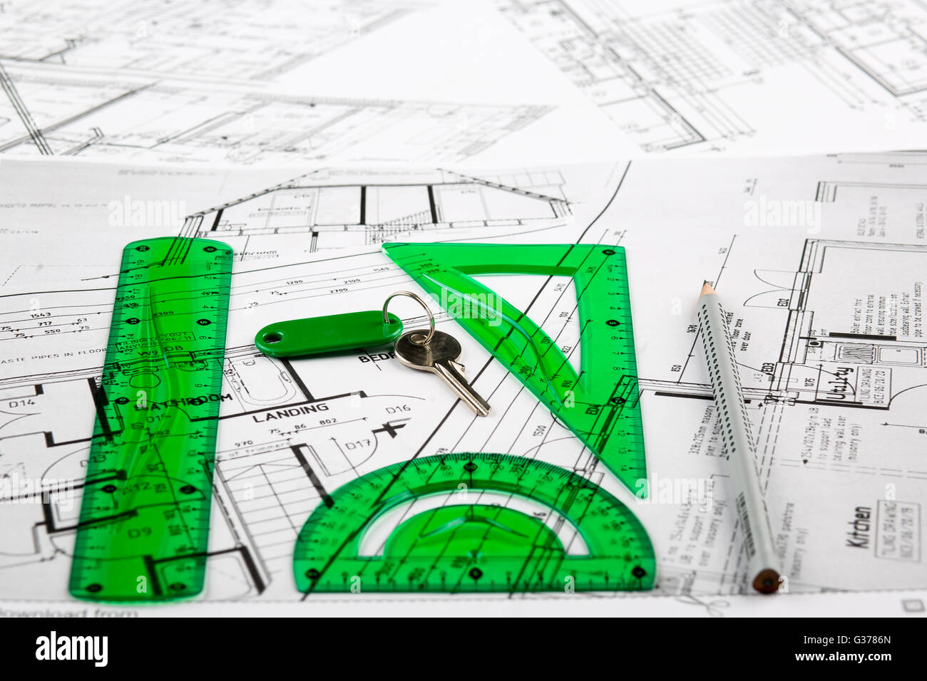 Architect Plans Construction Project Drawing The Cost Of Building A Stock Photo Alamy