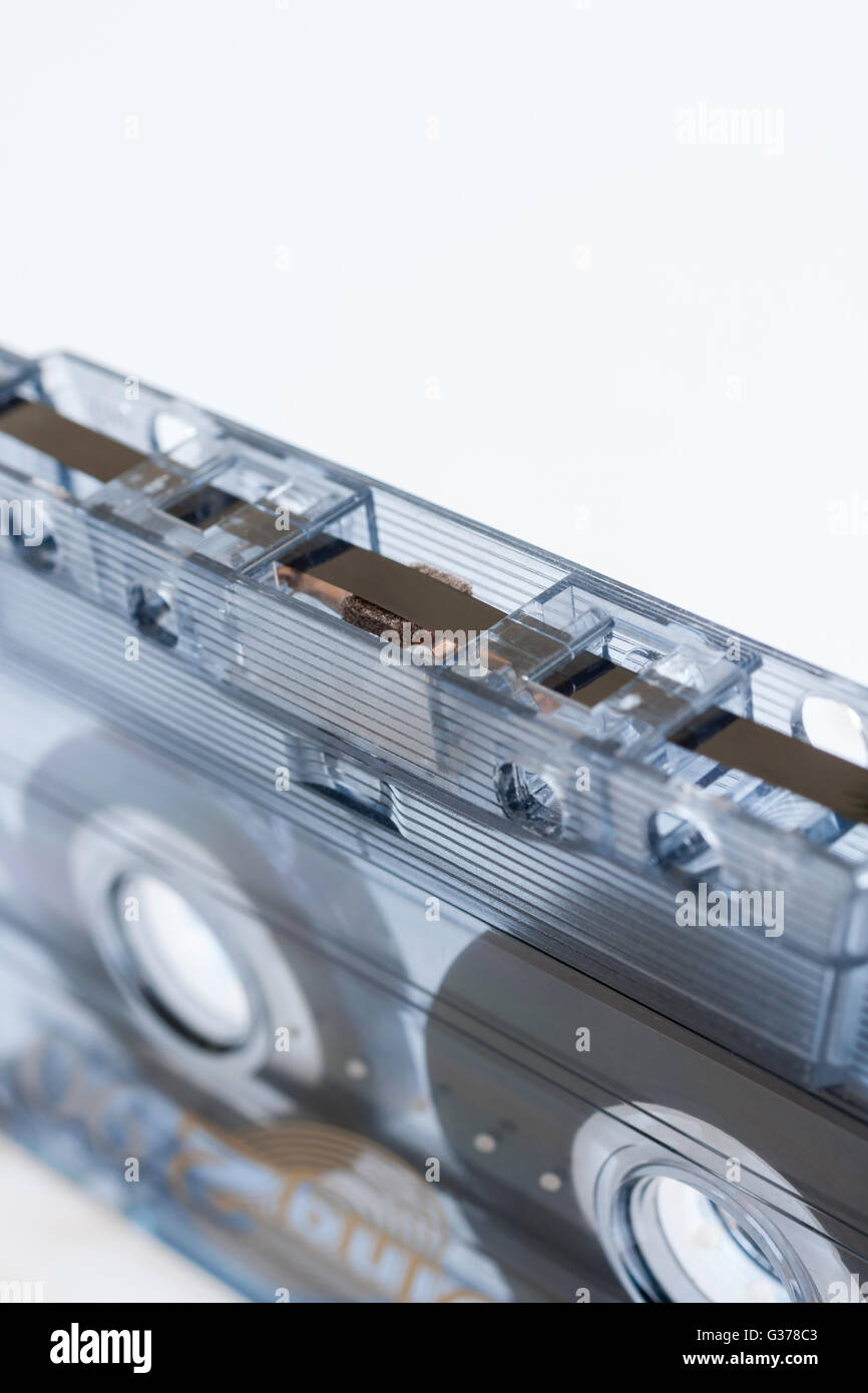 Cassette tape a magnetic tape recording format for audio recording and playback - Stock Image