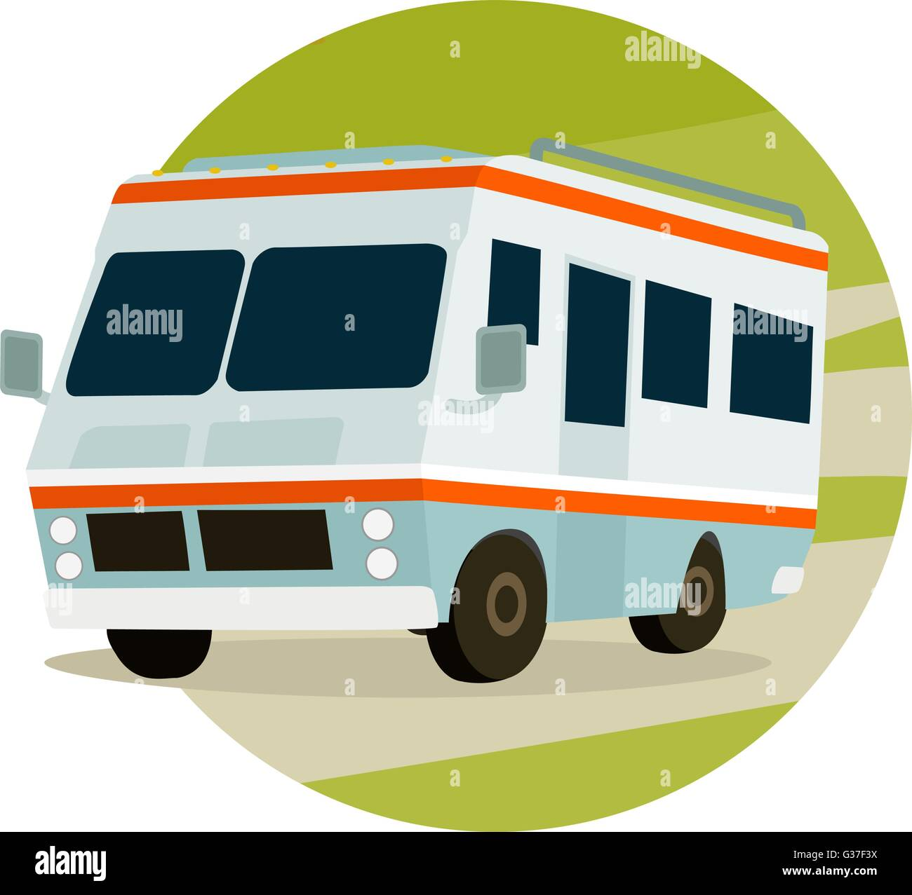 RV in mountains on a circle, travel icon - Stock Vector