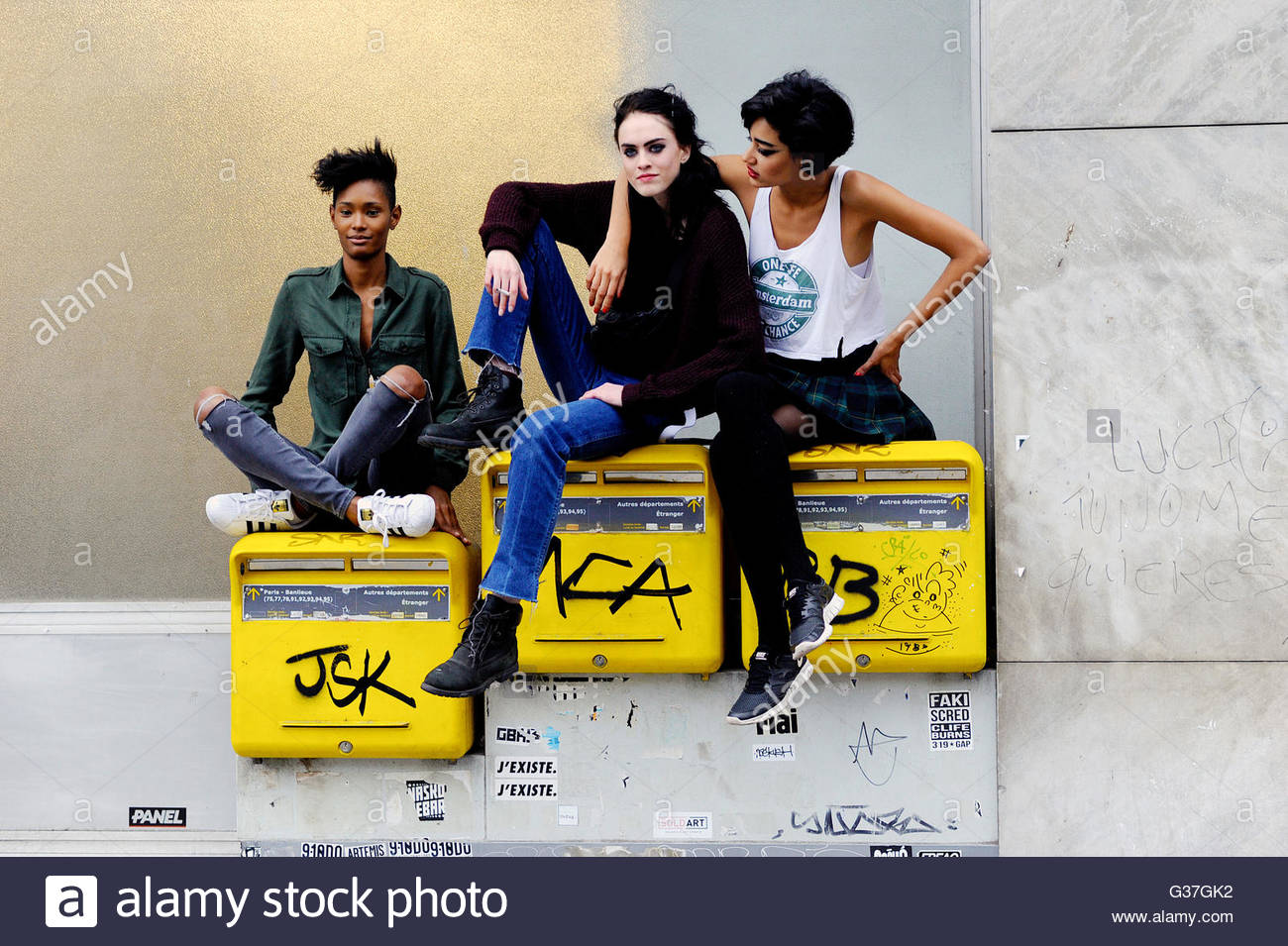 Models Ysaunny Brito, + Sarah Donne Alia + Damaris Goddrie, after Jean Paul Gaultier Couture SS16, 2016, Rue St - Stock Image