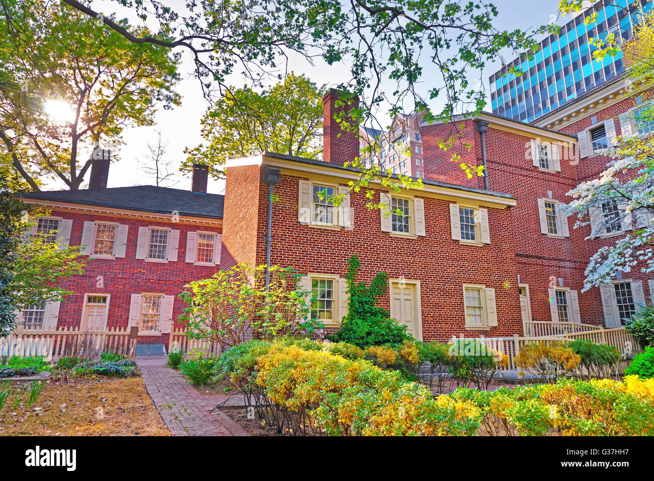 Pemberton House and Military Museum at New Hall at Chestnut Street in Philadelphia, Pennsylvania, the USA. They - Stock Image