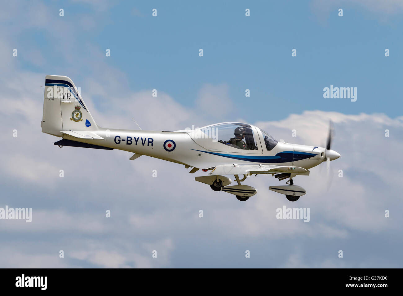 Royal Air Force (RAF) Grob G-115E Tutor G-BYVR used for Elemtary flying training - Stock Image