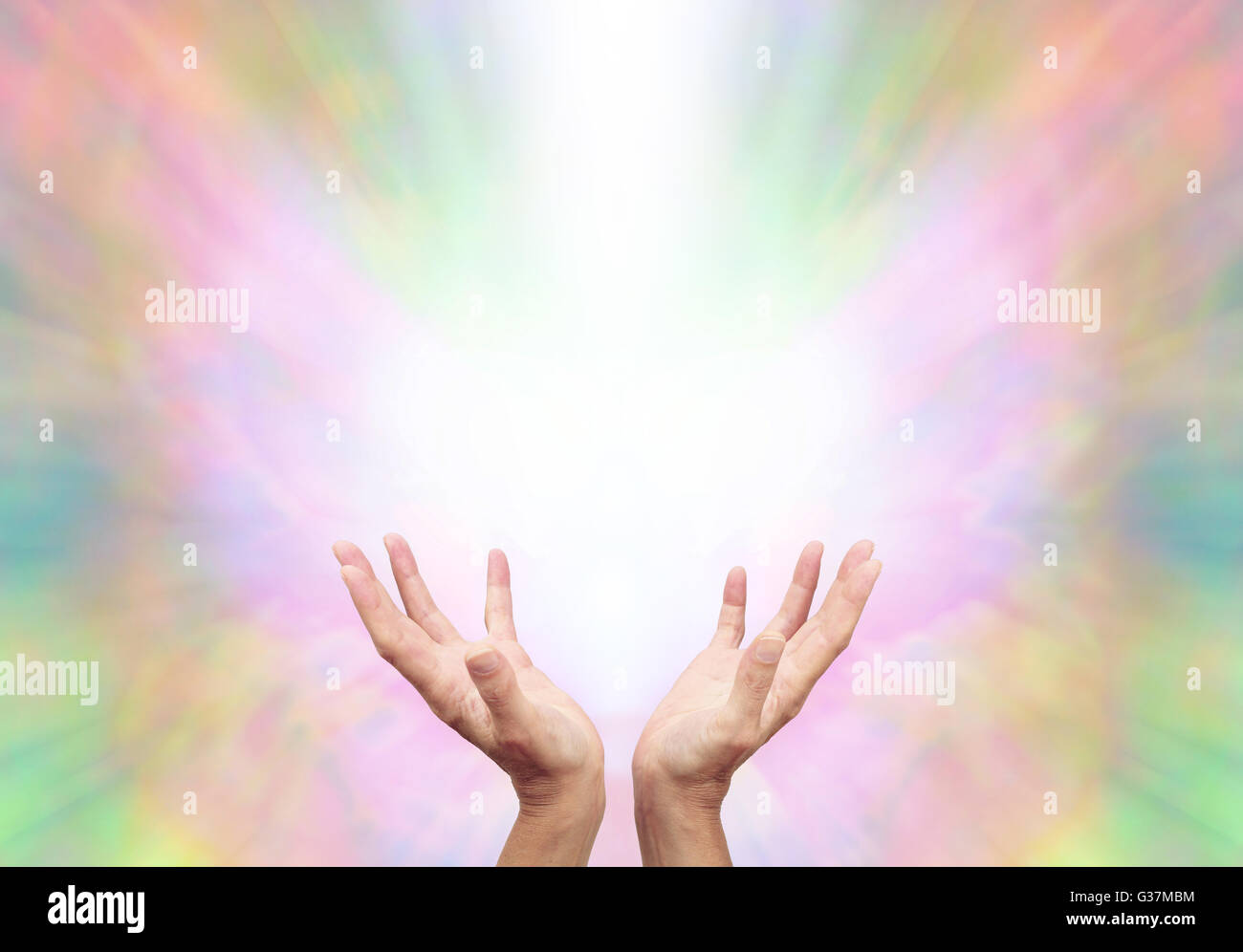 Female Reiki Master With Cupped Hands Reaching Up Into