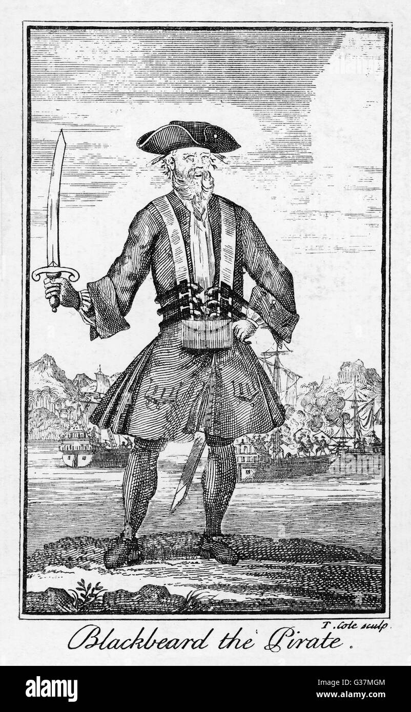 Blackbeard the pirate  (real name Edward Teach or Thatch, c.1680-1718). - Stock Image