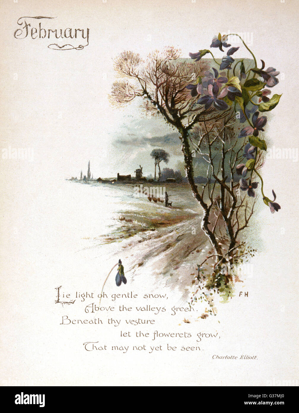 Book illustration -- February, with a snowy country scene.      Date: circa 1880 - Stock Image