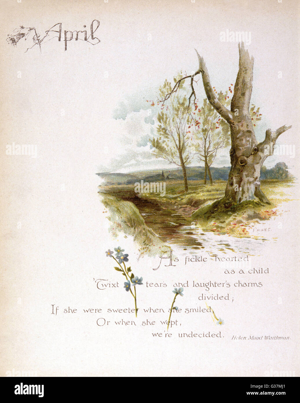 Book illustration -- March, with snowdrops and a river scene.      Date: circa 1880 - Stock Image