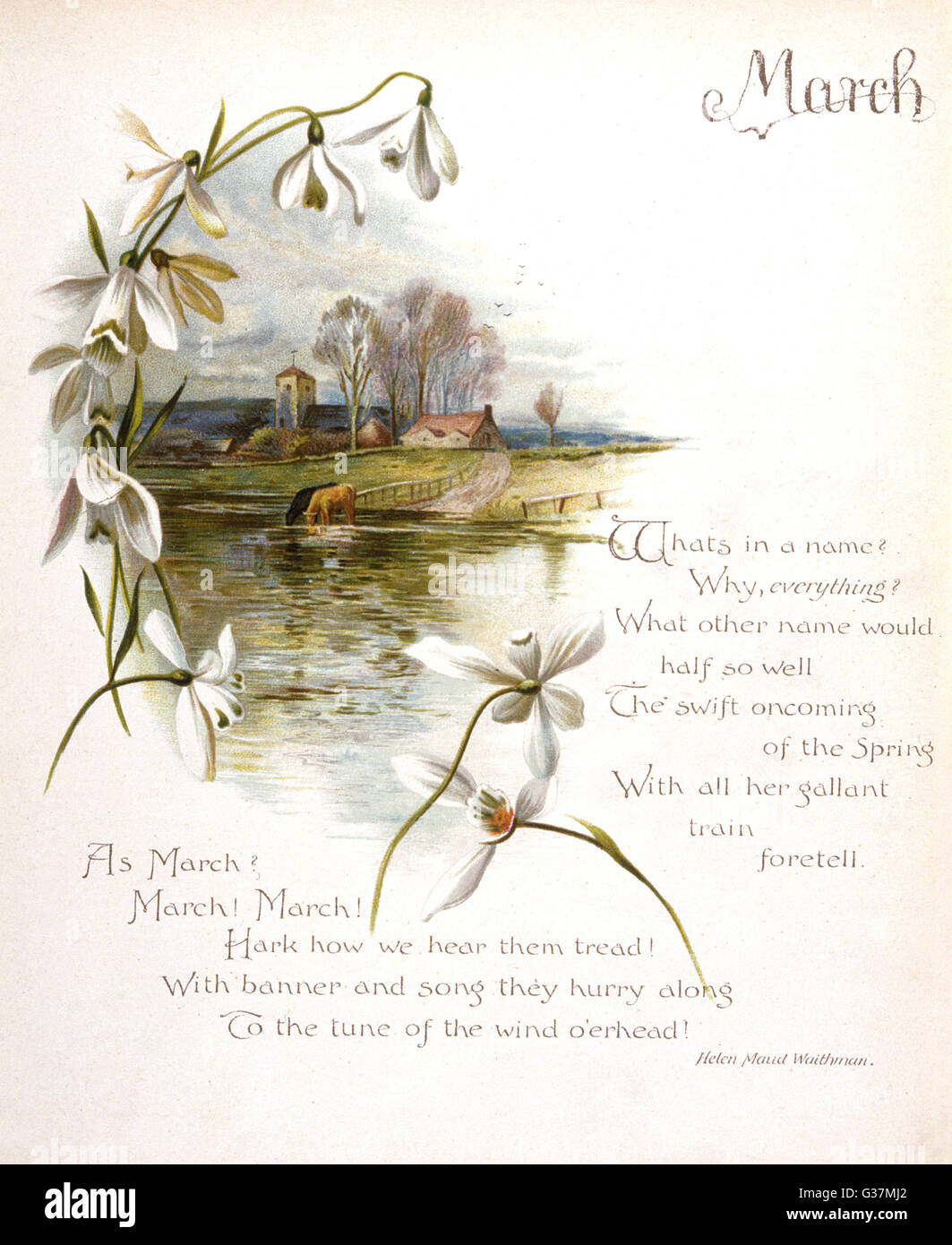 Book illustration -- April, with a springtime country scene.      Date: circa 1880 - Stock Image