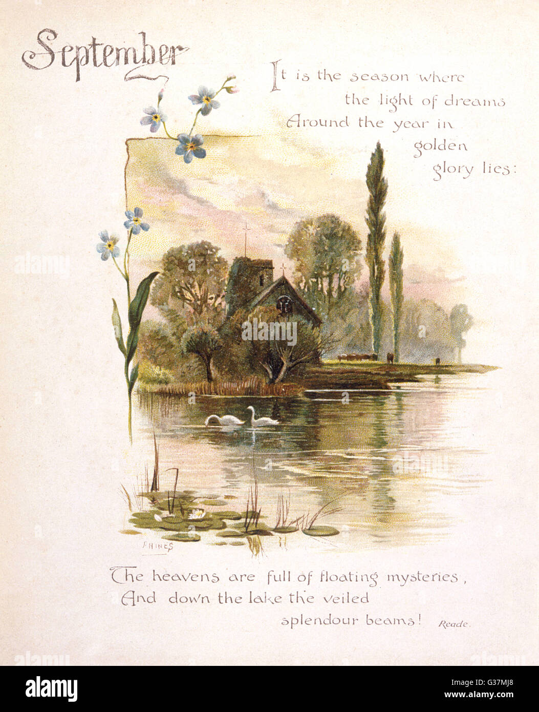Book illustration -- September, with swans on a river.      Date: circa 1880 - Stock Image