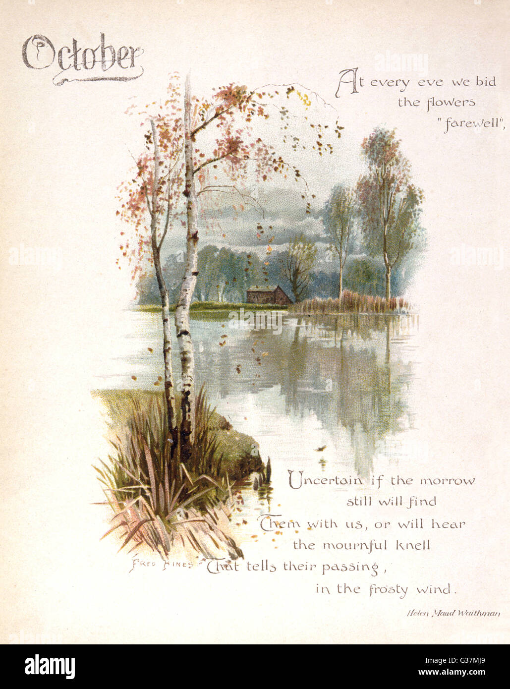 Book illustration -- October, with a quiet stretch of water.      Date: circa 1880 - Stock Image