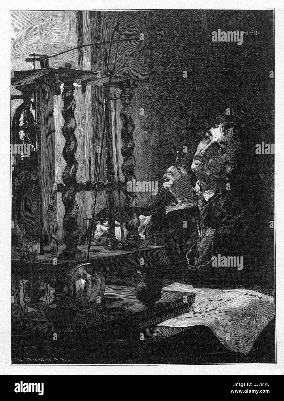 Christiaan Huygens (1629-1695), Dutch mathematician and scientist, working on his invention of the first pendulum - Stock Image