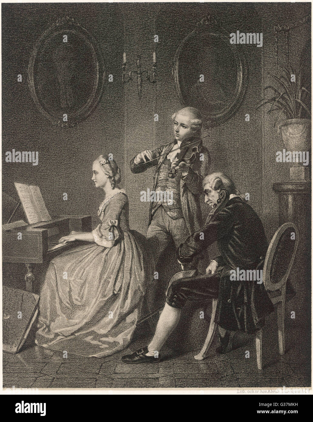 Chamber music, a trio for harpsichord and strings.          Date: 18th century - Stock Image
