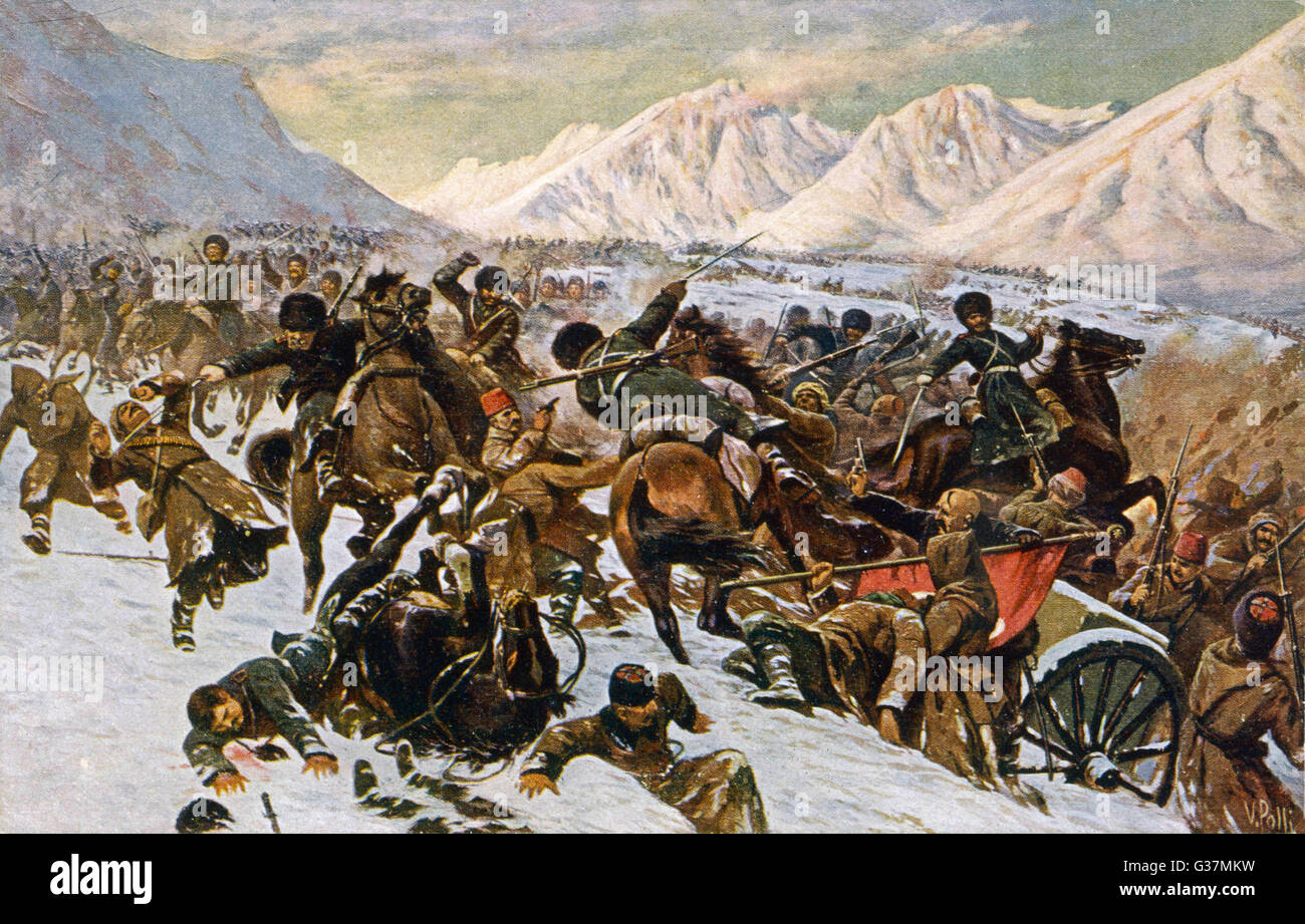 Russians skirmish with Turkish  forces in the Caucasus  mountains.        Date: 1914 - Stock Image