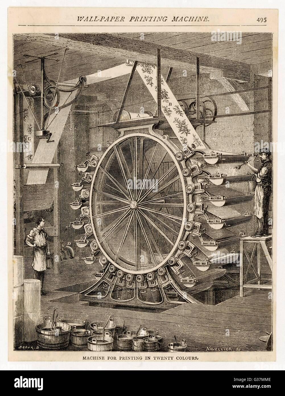 Wallpaper manufacture : colour press.         Date: 1877 - Stock Image