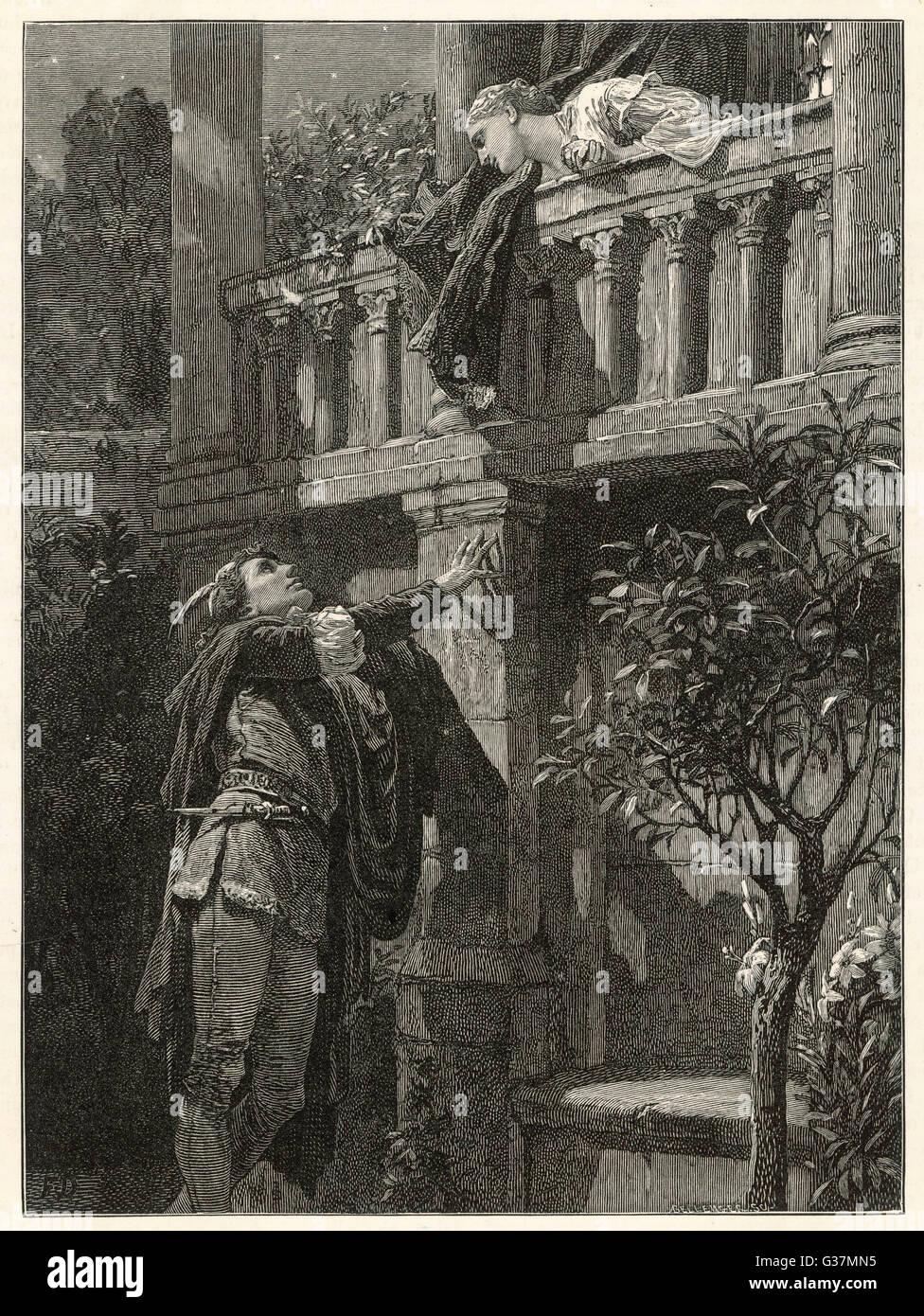 The balcony scene.     Date: Nineteenth century - Stock Image