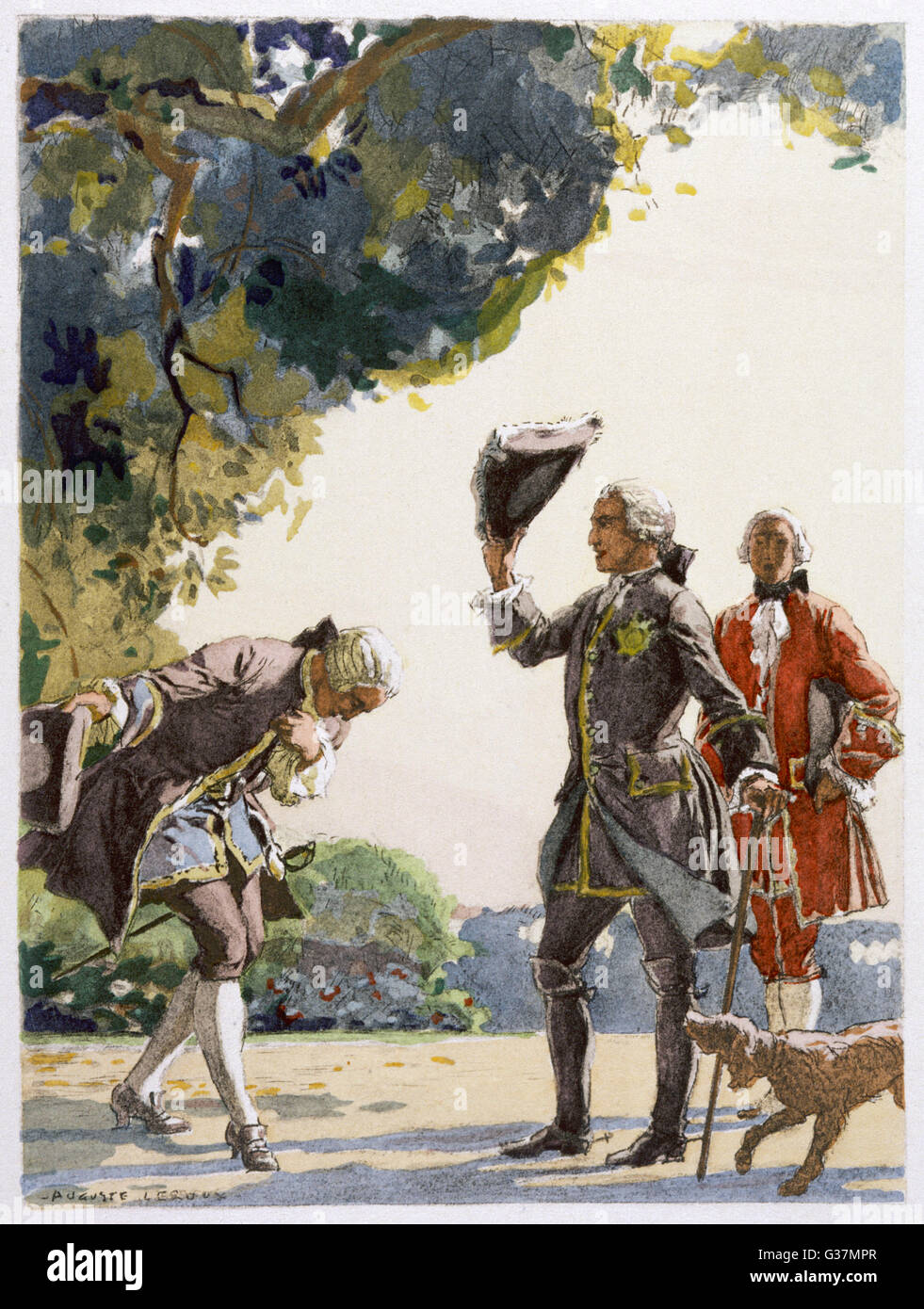 Two gentlemen meet - both doff  their hats, the inferior one  bows as well        Date: mid 18th century - Stock Image