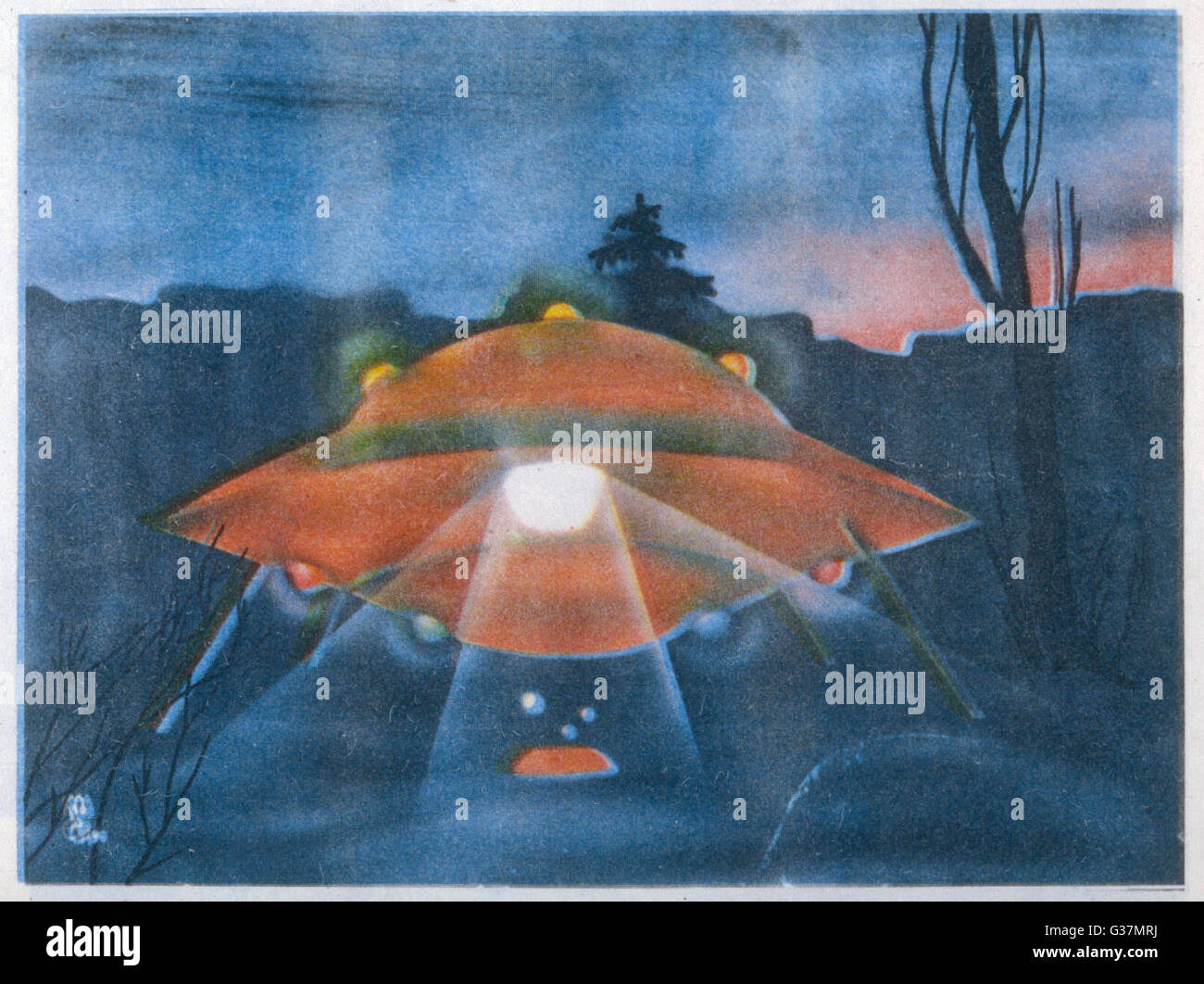 Landed UFO - with lights and  luminous spheres         Date: 1990 - Stock Image