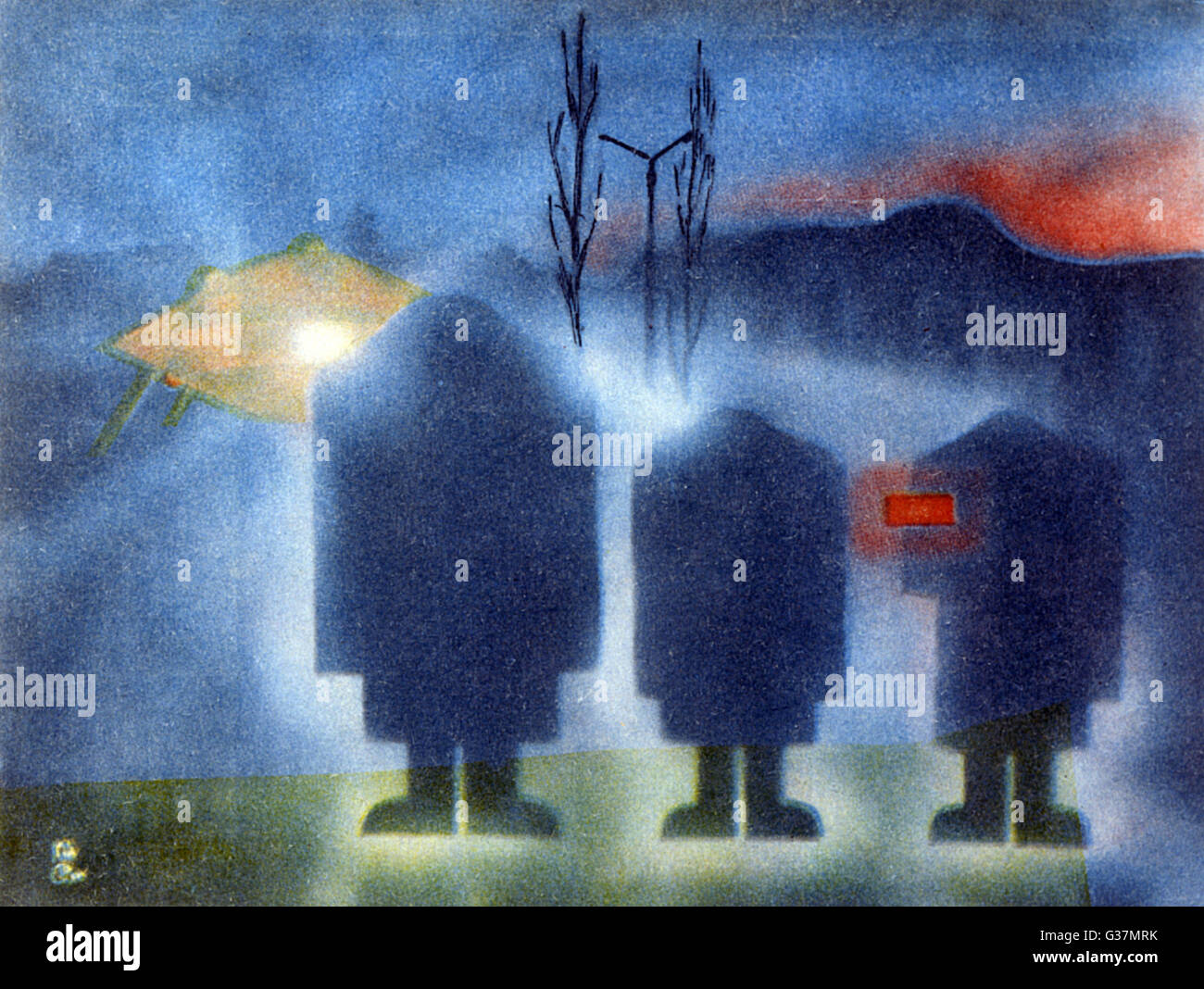 Three alien entities  associated with the landed UFO         Date: 1990 - Stock Image