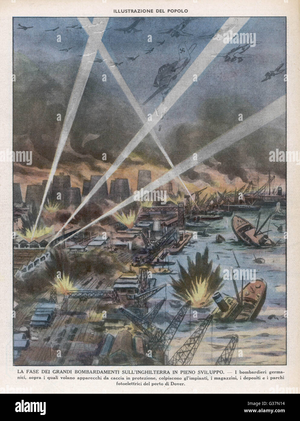Dive-bombing Dover : highly  imaginative Italian depiction  showing German Stukas  attacking the harbour...     - Stock Image
