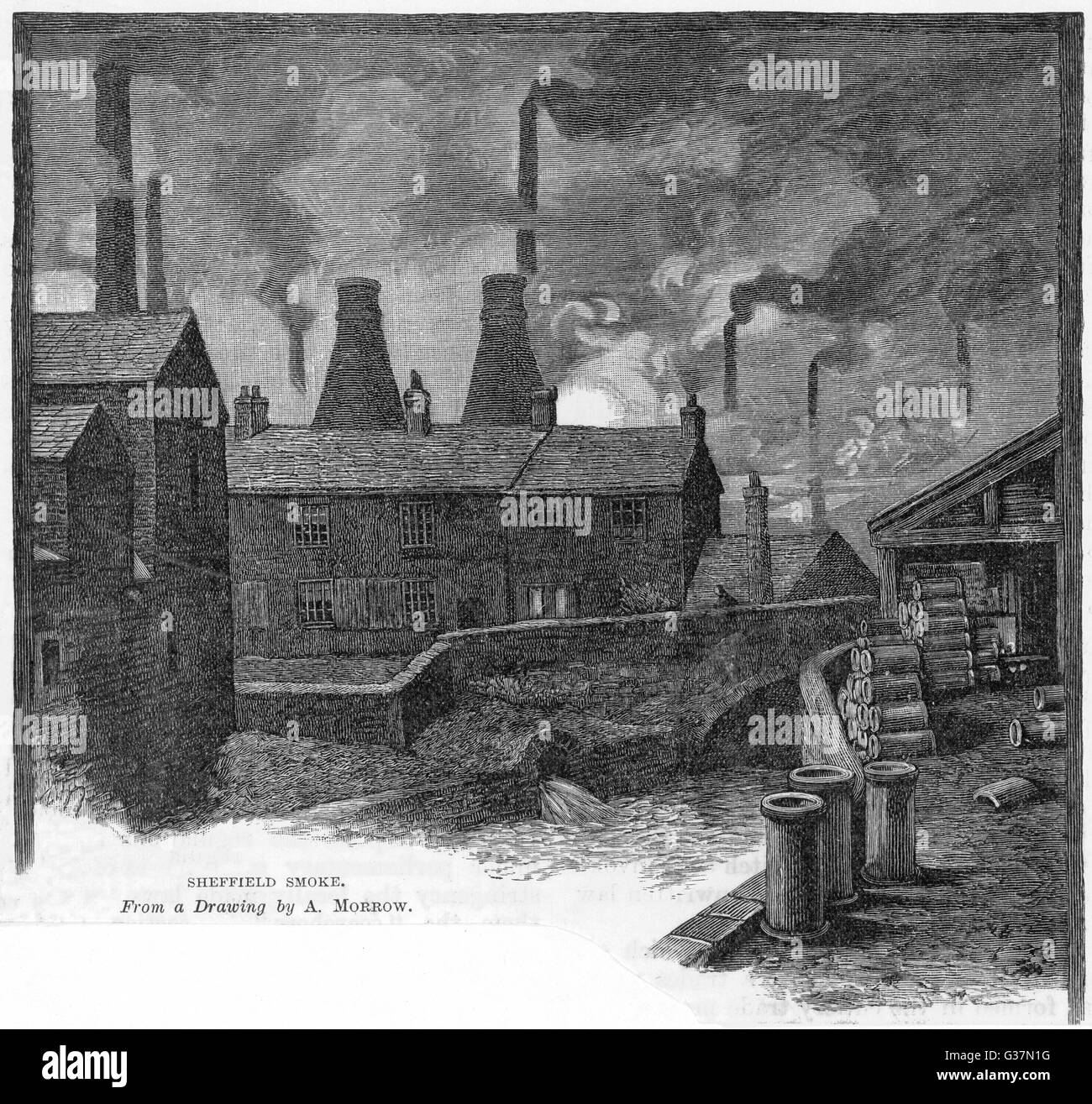 'SHEFFIELD SMOKE' factories at Sheffield,  Yorkshire (England)        Date: 1885 - Stock Image