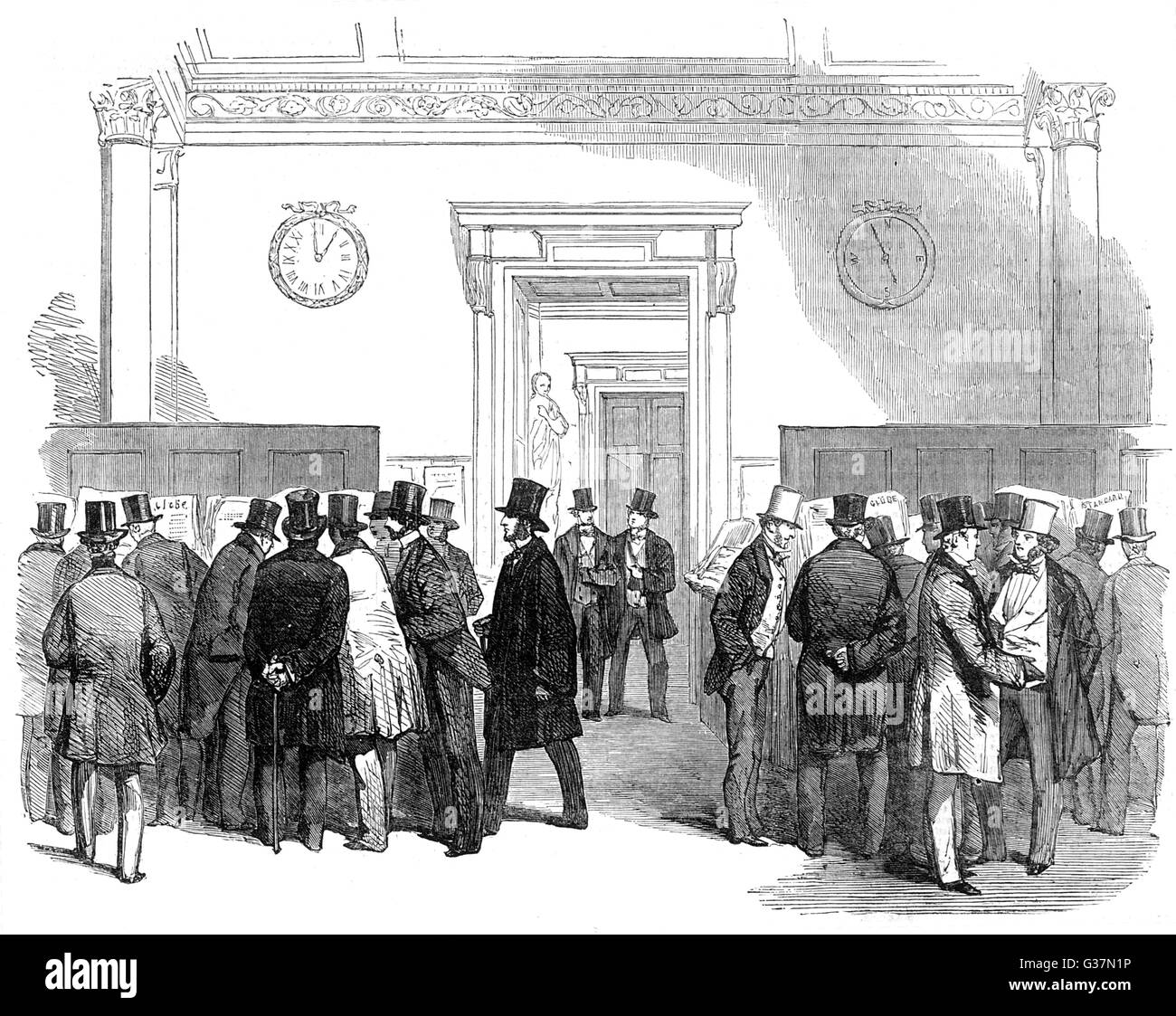 LLOYDS - scene in the  Merchants' Room as members  discuss the news from the  Crimea War       Date: 1854 - Stock Image
