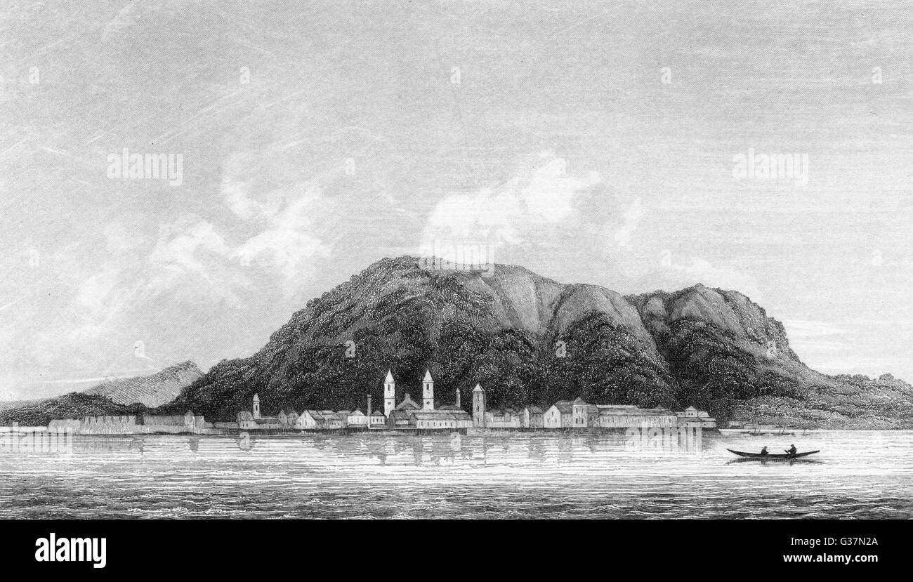 Early days of the colony ; Victoria seen from across the  bay        Date: circa 1850 - Stock Image
