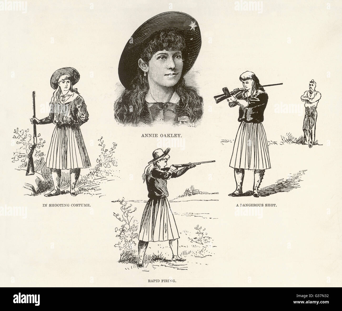 ANNIE OAKLEY entertains with feats of skillful marksmanship       Date: 1892 - Stock Image