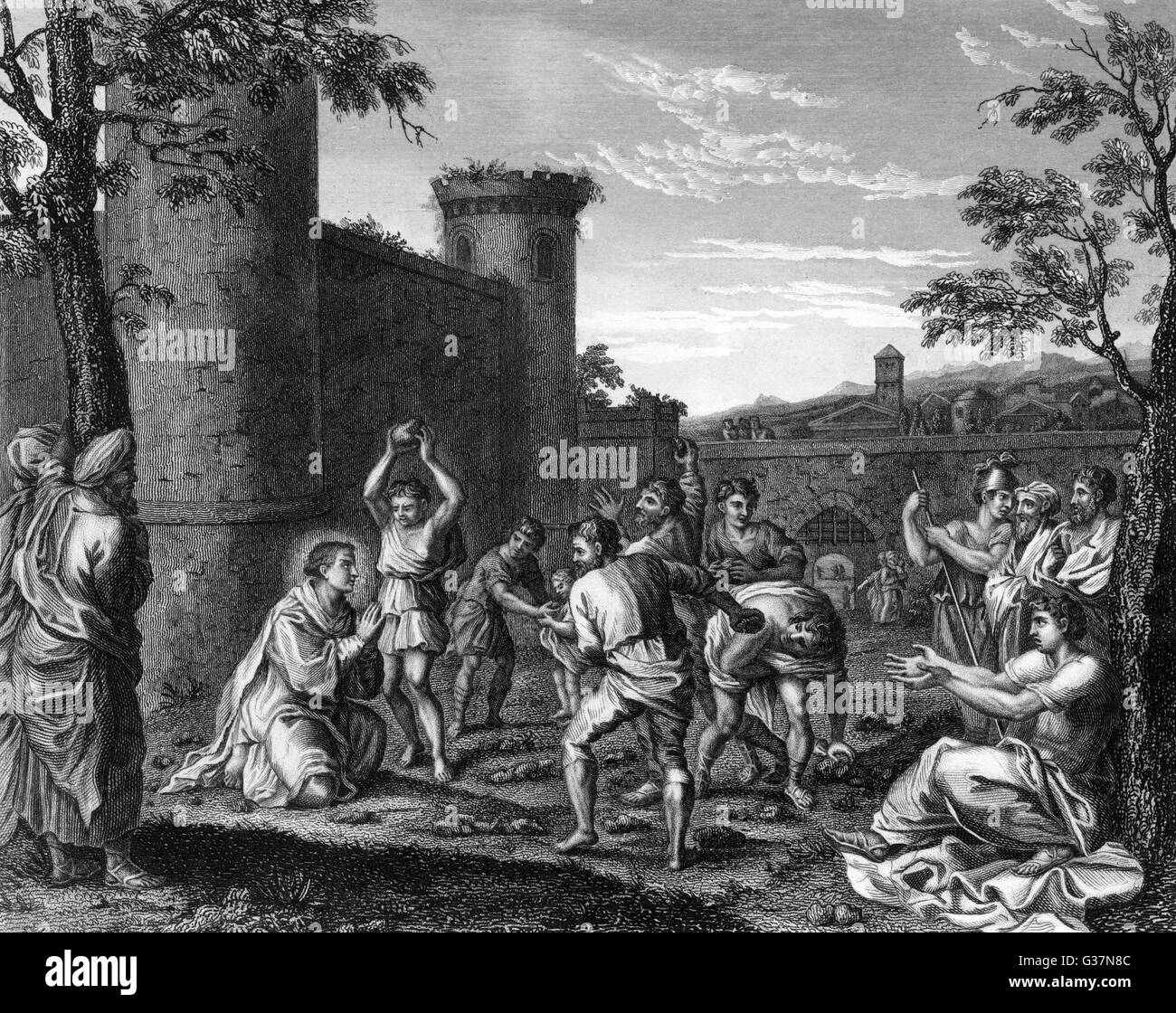 The stoning of Saint Stephen  He was the first Christian to  die for his faith - Stock Image
