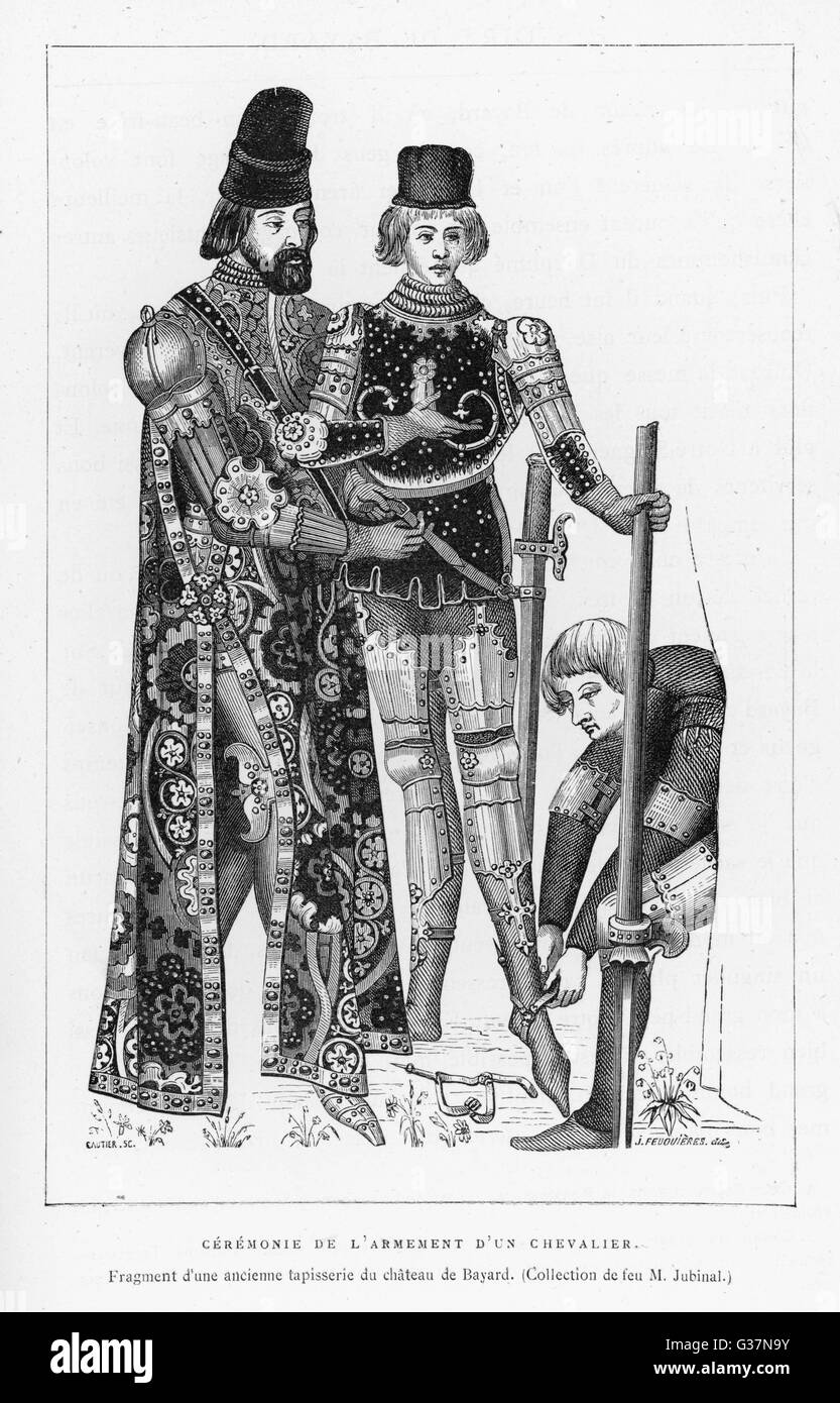 ARMING A YOUNG KNIGHT          Date: circa 1500 - Stock Image