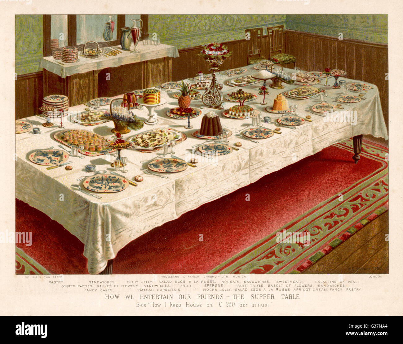 A SUPPER TABLE laid for 16 persons         Date: 1885 - Stock Image