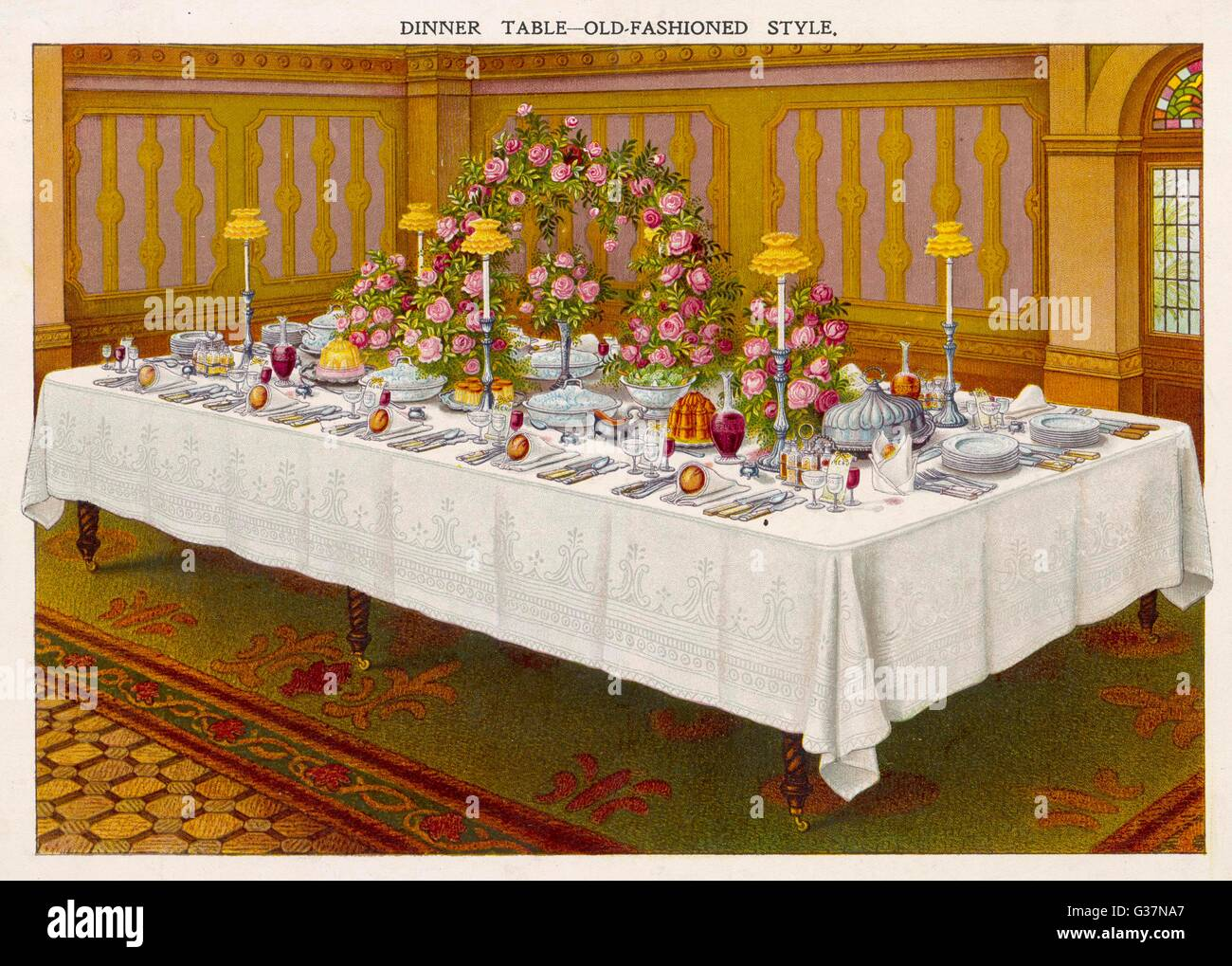 DINNER TABLE A LA FRANCAISE or laid in the 'Old-Fashioned'  style        Date: circa 1890 - Stock Image