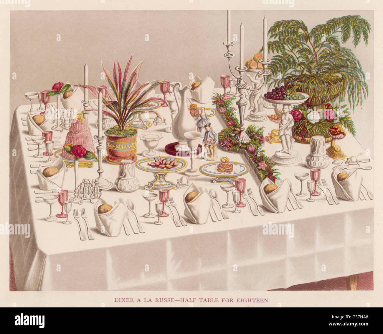 DINER A LA RUSSE, half-table for eighteen  persons        Date: 1873 - Stock Image
