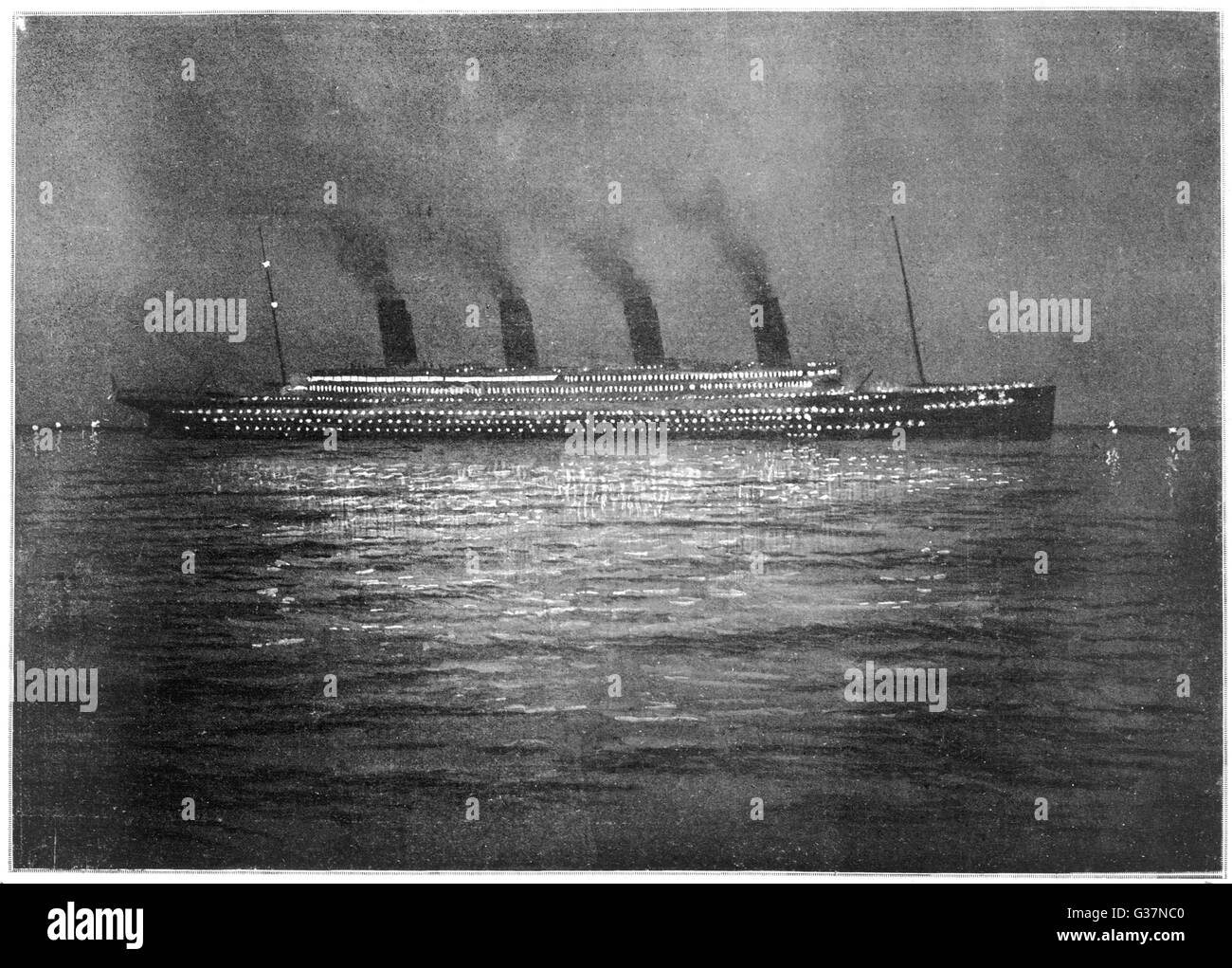 The SS Titanic seen at night  whilst visiting Cherbourg on  the evening of 10th April  1912.       Date: 1912 - Stock Image