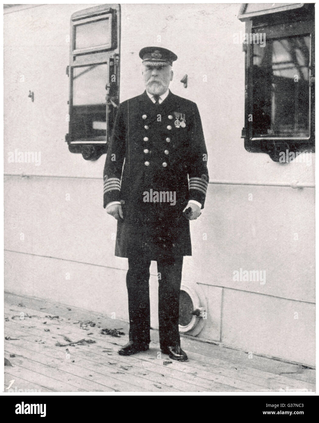 The captain of the RMS Titanic  - Captain E J Smith.         Date: 1912 - Stock Image