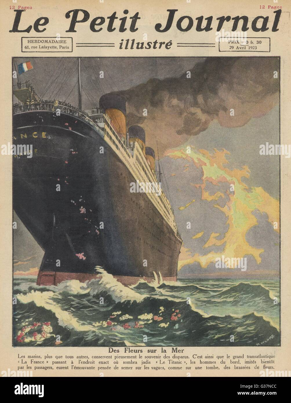 The S S FRANCE leaves a floral  tribute to those lost on the  SS Titanic in 1912.        Date: 1923 - Stock Image