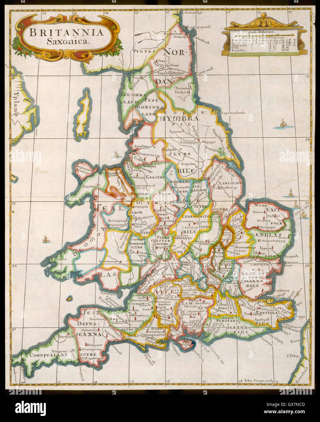 Map Of England In 9th Century.England And Wales During The Saxon Era Date Circa 9th Stock Photo