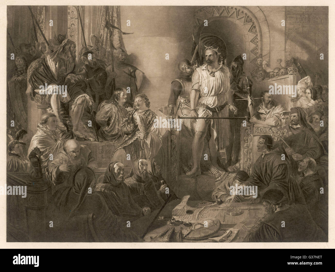 SIR WILLIAM WALLACE Scottish patriot and leader  of revolt, on trial before Edward I at Westminster Hall      Date: - Stock Image