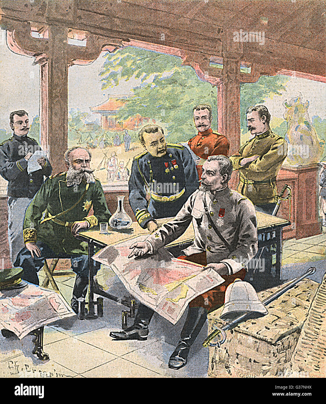 BOXER REBELLION A council-of-war at Peking  between the leaders of the  Allied forces        Date: September 1900 - Stock Image