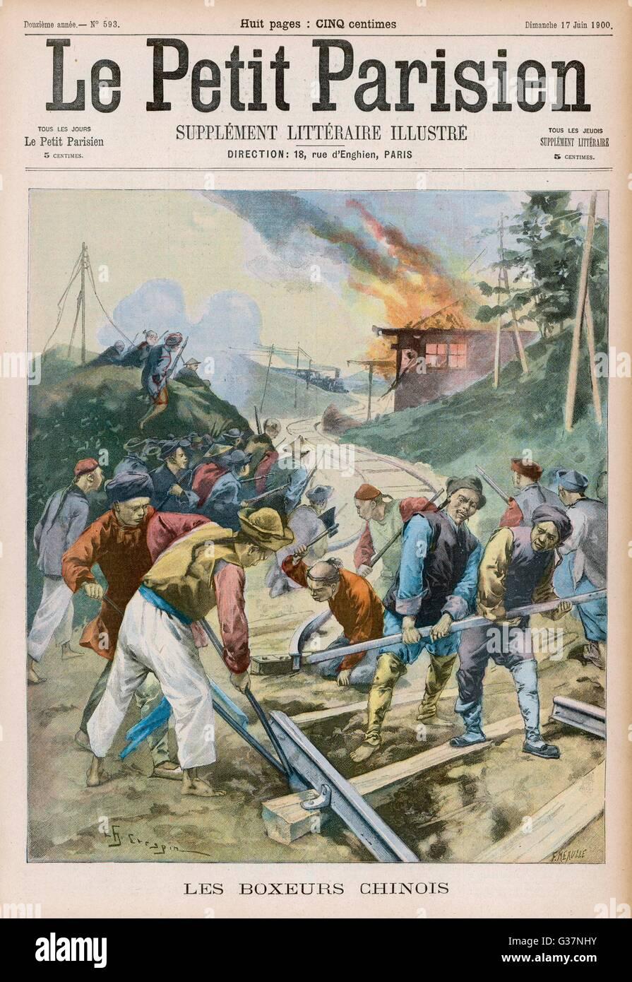 BOXER REBELLION Boxers sabotage the railway  between Peking and Hong-Kong        Date: June 1900 - Stock Image