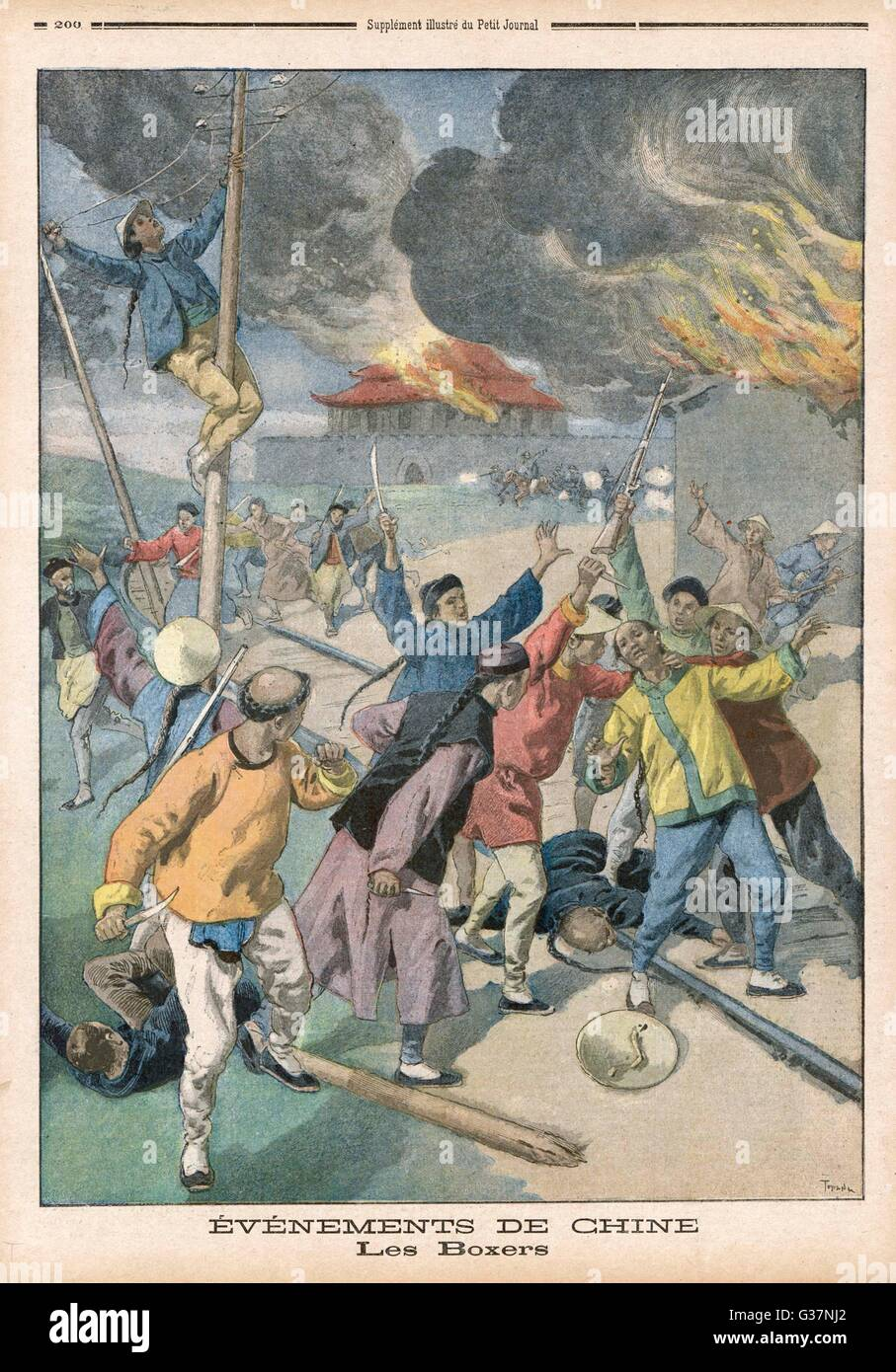 BOXER REBELLION Boxers destroy telegraph  lines, burn buildings and  murder opponents throughout  the Peking district - Stock Image